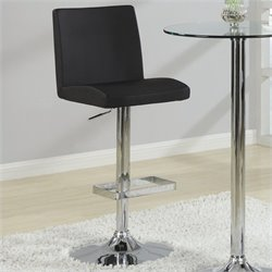 Coaster Contemporary Adjustable Bar Stool with Roll Back in Black
