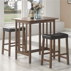 Coaster 3 Piece Pub Set in Nut Brown Finish