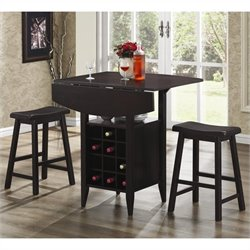 Coaster 3 Piece Drop Leaf Bar Table and Stool Set in Espresso