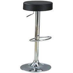 Coaster Adjustable Bar Stool in Black Upholstery