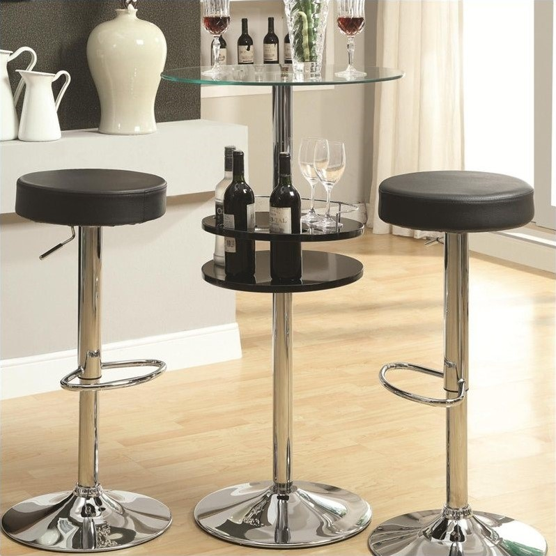 Black Bar Table with Tempered Glass Top and Storage