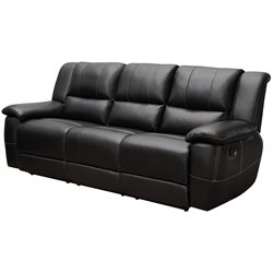 Coaster Lee Transitional Motion Leather Sofa with Pillow Arms in Black