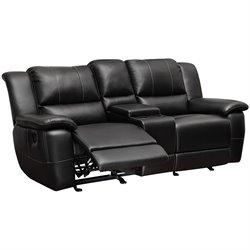 Coaster Lee Transitional Double Reclining Gliding Loveseat with Console