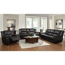 Coaster Lee Transitional 3 Piece Leather Reclining Sofa Set in Black