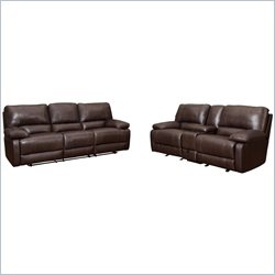 Coaster Geri 2 Piece Reclining Sofa Set in Leather Match Brown