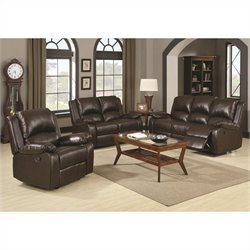 Coaster Boston 3 Piece Reclining Leather Sofa in Brown