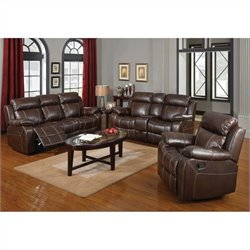 Coaster Myleene Leather 3 Piece Reclining Sofa Set in Brown