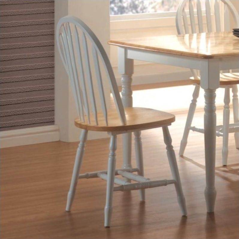 Damen Windsor Dining Side Chair in White and Natural