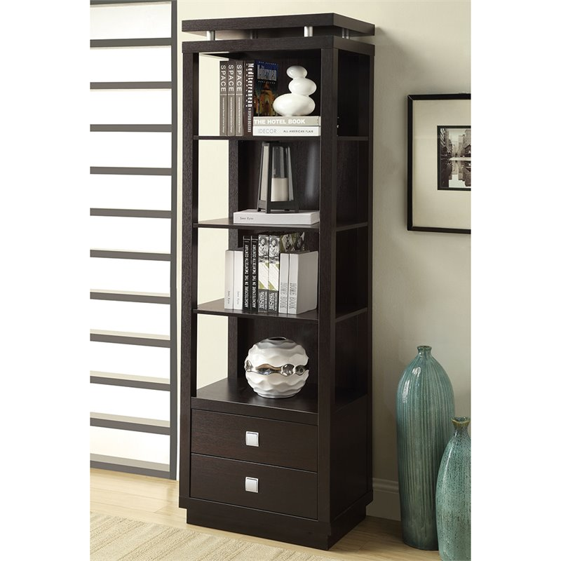 Coaster Wall Units 4 Shelf Media Tower In Cappuccino