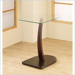 Coaster Semi-Oval Snack Table with Glass Top