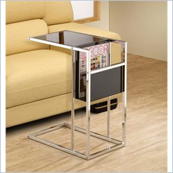 Coaster Black and Chrome Snack Table with Magazine Rack