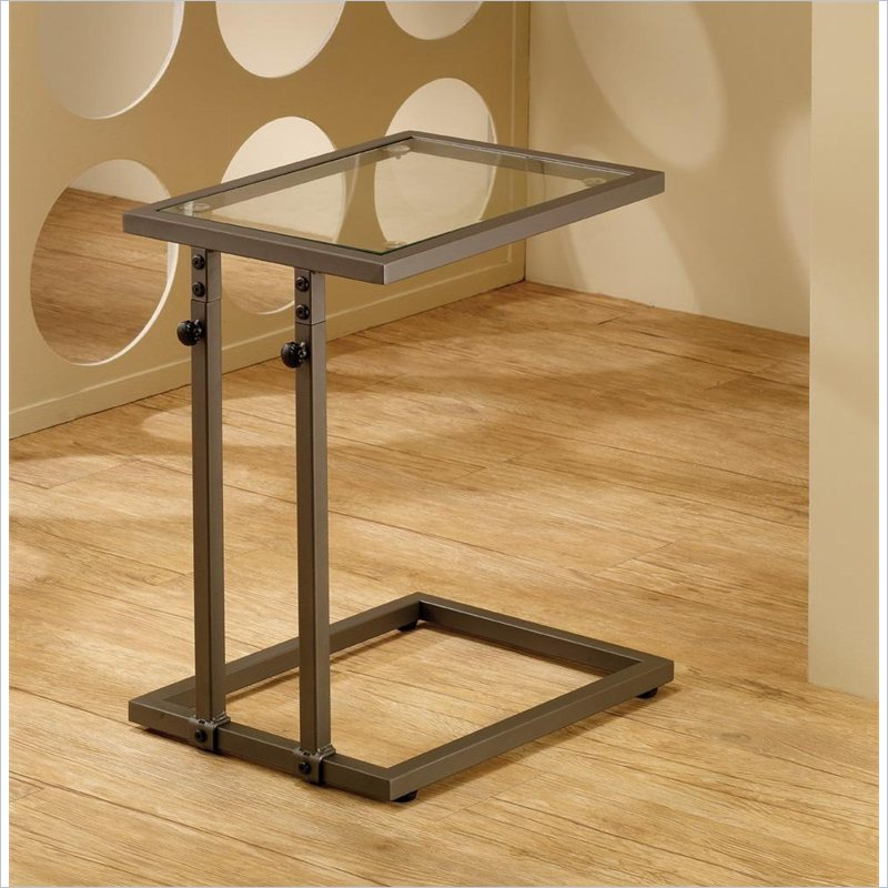 Adjustable Snack Table with Tempered Glass Top