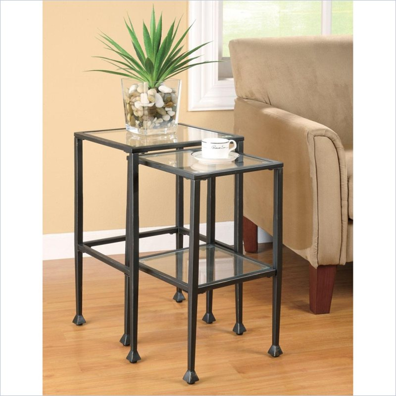 Coaster 2 Piece Glass and Metal Nesting Tables