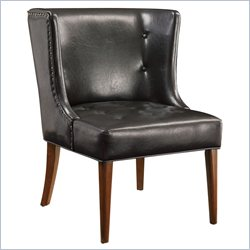 Coaster Black Faux Leather Vinyl Accent Chair