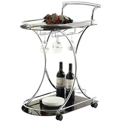 Coaster Serving Cart with 2 Black Glass Shelves