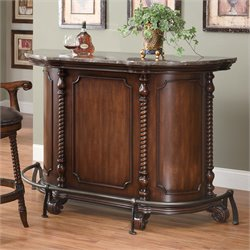 Coaster Traditional Home Bar Unit with Marble Top in Cherry