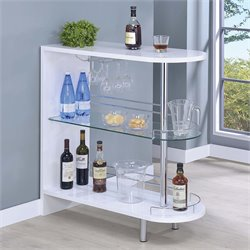 Coaster Contemporary Home Bar Table with Glass Shelf in White