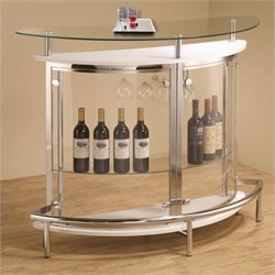 Coaster Contemporary Bar Unit with Clear Acrylic Front in White
