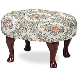 Coaster Foot Stool with Floral Fabric in Cherry