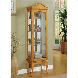 Coaster Curio Cabinet with Glass Panels in Oak