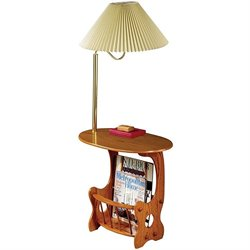 Coaster Magazine Table with Brass Swing Arm Lamp in Oak