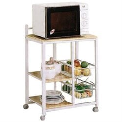 Coaster Serving Cart on Casters in White and Natural