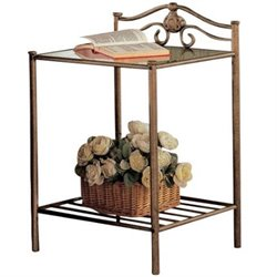 Coaster Singleton Iron Nightstand with Shelf in Antique Brushed Gold