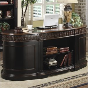 Coaster Nicolas Oval Executive Double Pedestal Desk in Two Tone Wood