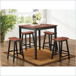 Coaster Yates 5 Piece Counter Height Dining Set in Oak and Black