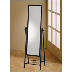 Coaster Standing Cheval Mirror with Shelf in Black