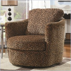 Coaster Swivel Leopard Upholstered Chair in Brown