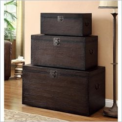 Coaster Nesting Storage Trunk Set in Rich Coffee