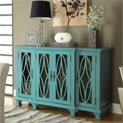 Coaster Console Table with Glass Doors in Teal