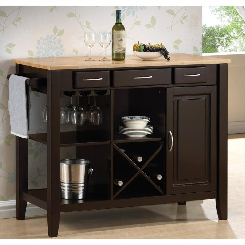 Coaster Kitchen Cart with Butcher Block Top in Natural and Cappuccino