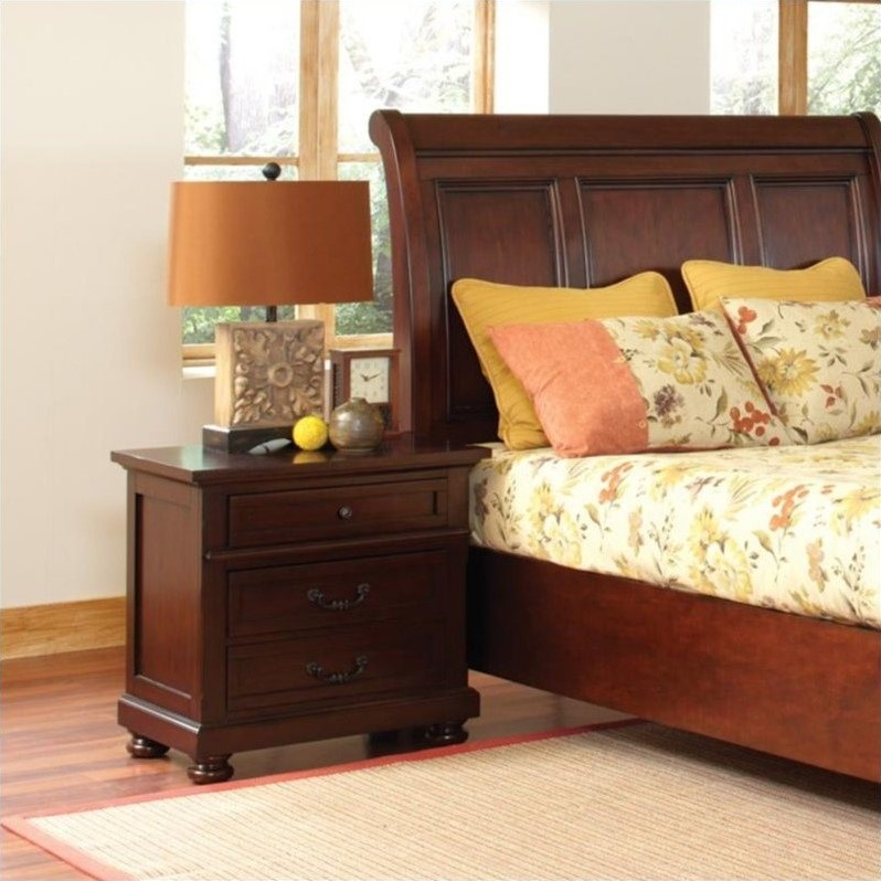 Hannah Nightstand with 3 Drawers in Brown Cherry