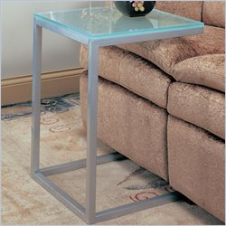Coaster Frosted Glass Top Snack Table in Pewter