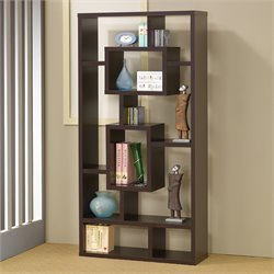 Coaster Bookshelf with Rectangular Shelves in Cappuccino