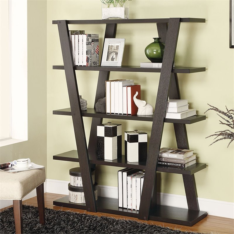 products asymmetrical bookcases coaster number backless snaking item bookshelf dunk