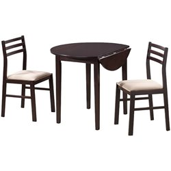 Coaster Dinettes Casual 3 Piece Table and Chair Set in Rich Cappuccino