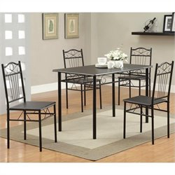 Coaster Dixon 5 Piece Table and Chair Set in Black