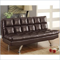Coaster Dark Tri Tone Brown Vinyl Sofa Bed in Brown