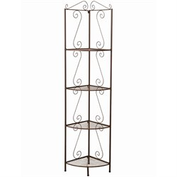 Coaster Corner Shelf with Decorative Scrolls in Copper