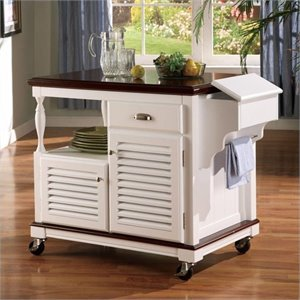 Coaster Cherry Topped Kitchen Cart with 2 Doors in White