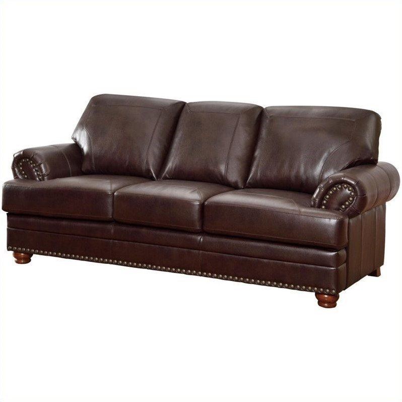 Coaster Colton Leather Sofa in Brown