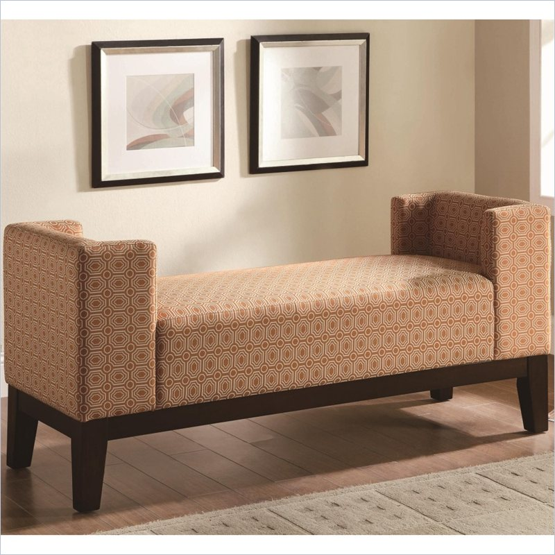 Burnt Orange U Shaped Accent Bench in Cappuccino