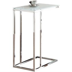 Coaster Snack Table with Frosted Tempered Glass Top in Chrome