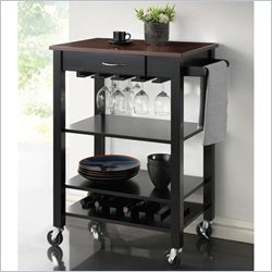 Coaster Kitchen Cart with Butcher Block Top in Black and Cherry