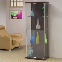 Coaster Cabinet with All Glass Front Rectangle Curio in Cappuccino