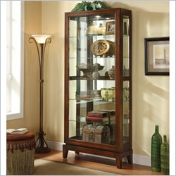 Coaster 6 Shelf Curio Cabinet with Mirrored Back in Dark Cherry