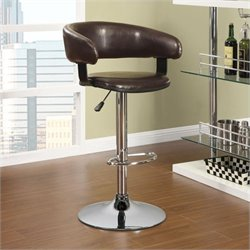Coaster Adjustable Rounded Back Bar Stool in Brown